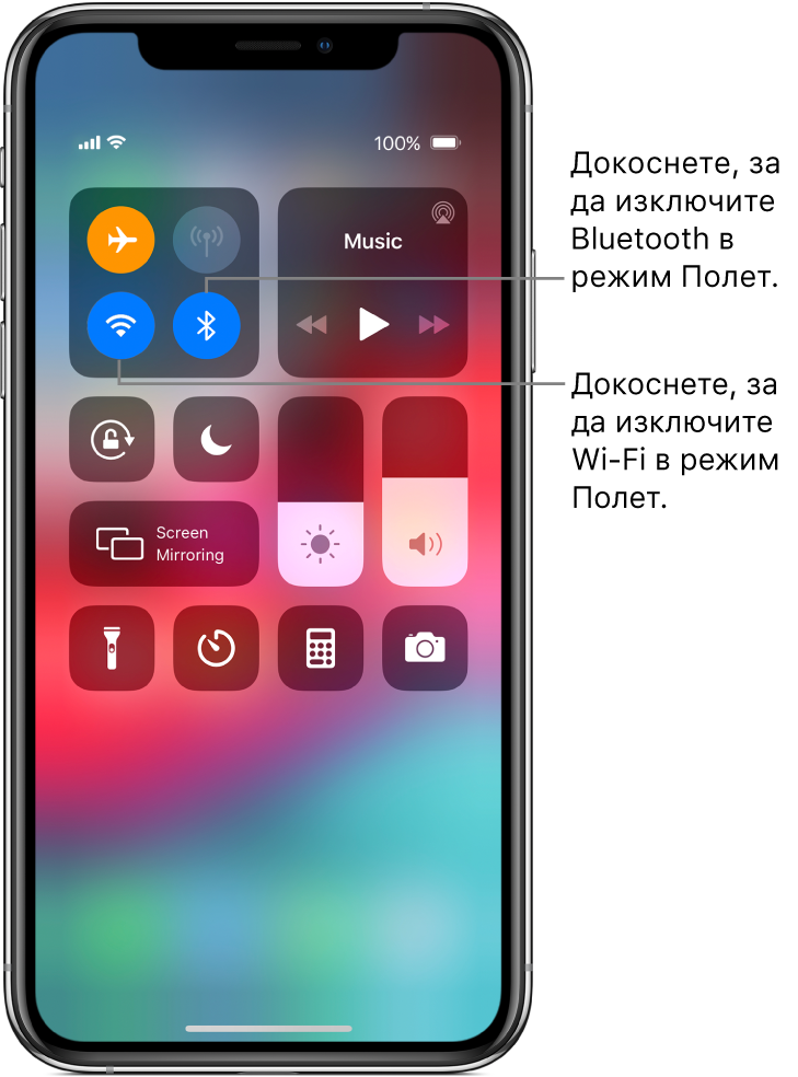 Контролен център с включен режим Полет, с надписи, обясняващи как докосването на долния ляв бутон в долната лява група бутони изключва Wi-Fi, а докосването на долния десен бутон в тази група изключва Bluetooth.