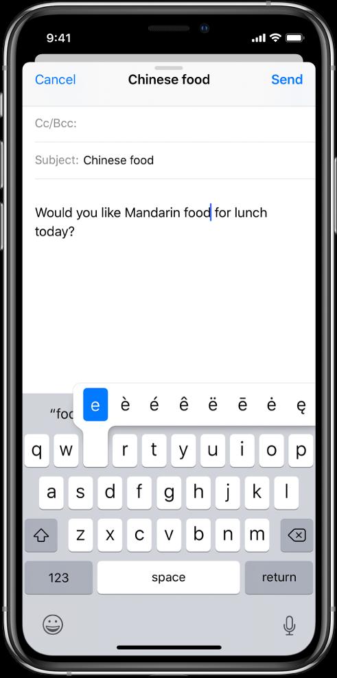 """Екран, който показва алтернативни символи за клавиша """"e""""."""