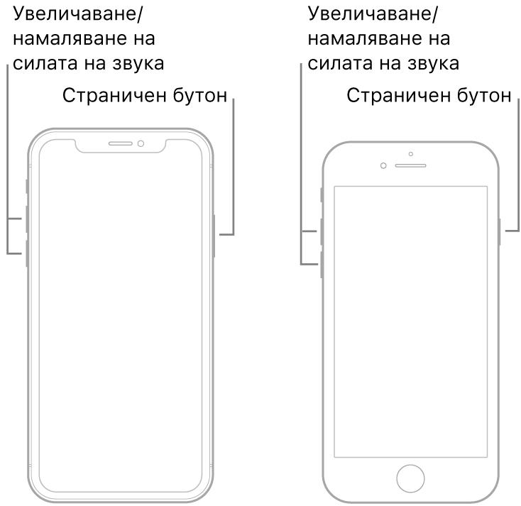 Илюстрация на два от моделите на iPhone, обърнати с екрана нагоре. Левият модел няма бутон Начало, докато десният модел има бутон Начало в долния край на устройството. И за двата модела бутоните за увеличаване и намаляване на силата на звука са показани от лявата страна на устройствата, а страничният бутон е показан от дясната страна.