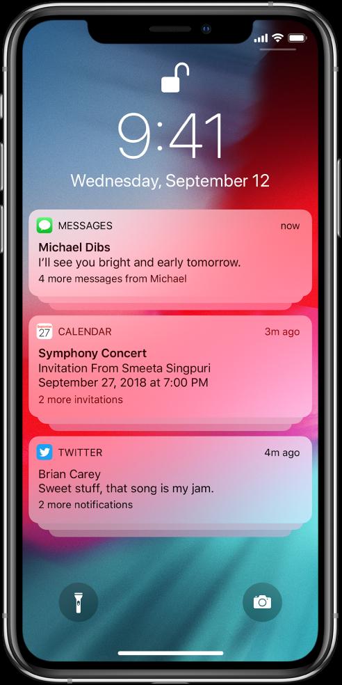 Три групи известия в заключен екран: пет съобщения, три покани от Calendar (Календар) и три известия от Twitter.