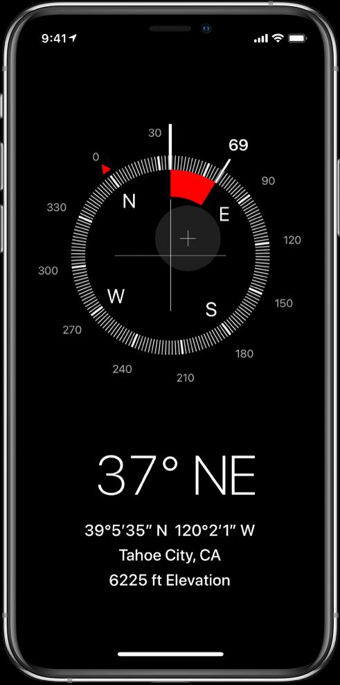 Екран на приложението Compass (Компас), показващ посоката, в която сочи iPhone, вашето текущо местоположение и надморска височина.
