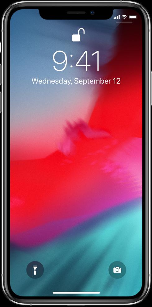 Заключен екран с лента в долния край, показваща, че можете да плъзнете нагоре от долния край на екрана.