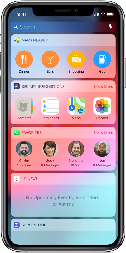 Панелът Today (Днес), показващ инструменти за Maps Nearby (Близки карти), Siri App Suggestions (Предложения за Siri приложения), Up Next (Следва) и Screen Time (Екранно време).