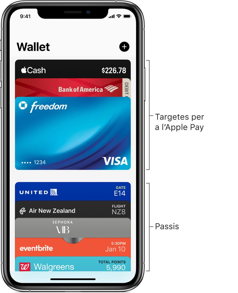 La pantalla del Wallet, on es pot veure la part superior de diverses targetes de crèdit, de dèbit i passis.