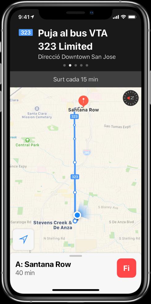 Mapa de transport públic que mostra les parades d'una línia de bus. A la part superior de la pantalla hi ha un bàner amb una instrucció per agafar el bus VTA 323 Limited cap al centre de San José.