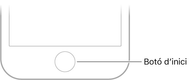 Botó d'inici a la part inferior de l'iPhone.