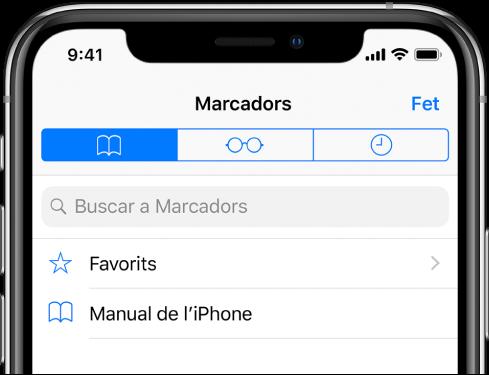 La pantalla Marcadors, amb opcions per veure els favorits i explorar l'historial juntament amb els marcadors.