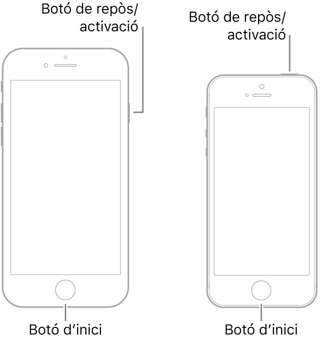 Il·lustracions de dos models d'iPhone amb la pantalla de cara cap amunt. Tots dos tenen un botó d'inici a prop de la part inferior del dispositiu. El model de l'esquerra té un botó de repòs/activació a la vora dreta del dispositiu, a prop de la part superior, mentre que el de la dreta té un botó de repòs/activació a la part superior del dispositiu, a prop de la vora dreta.