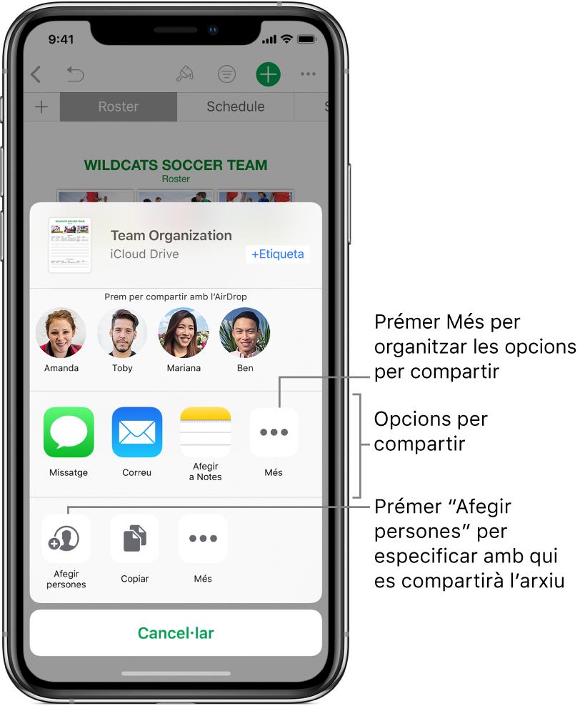 """La pantalla per compartir un arxiu. A la part superior hi ha l'arxiu que has seleccionat per compartir. A sota d'això hi ha persones amb qui pots compartir amb AirDrop. La fila següent mostra les opcions per compartir, entre les quals s'inclouen l'app Missatges, el Mail, """"Afegir a Notes"""" i Més. La fila inferior té botons per a accions; per exemple, """"Afegir persones"""", Copiar i més."""