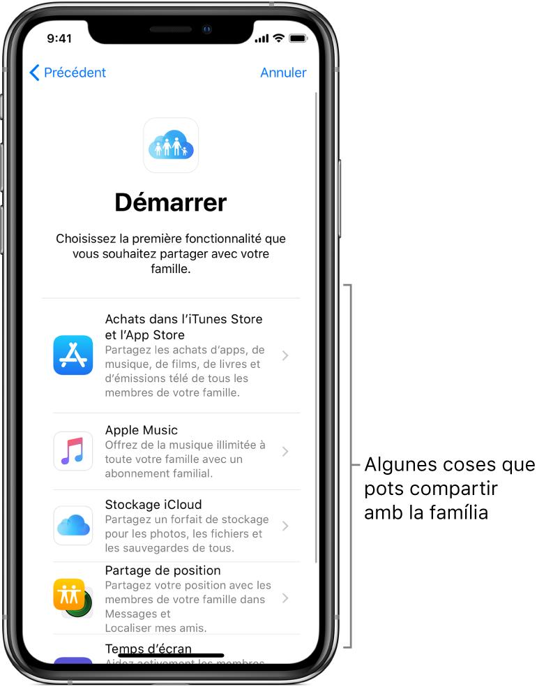 """Pantalla Començar de la configuració de la funció """"En família"""". Mostra les cinc funcions que pots començar a compartir amb el grup familiar: compres a l'iTunesStore i l'AppStore, AppleMusic, espai d'emmagatzematge a l'iCloud, """"Compartir la ubicació"""" i """"Temps d'ús""""."""