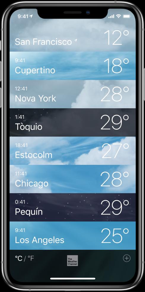 Llista de les ciutats que mostra l'hora i la temperatura actual de cadascuna.