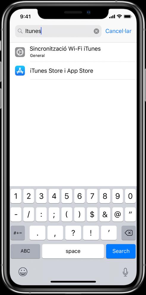 """Pantalla per buscar paràmetres de configuració, amb el camp de cerca a la part superior. Hi ha el terme de cerca """"iTunes"""" al camp de cerca i dos resultats de paràmetres a la llista de sota."""