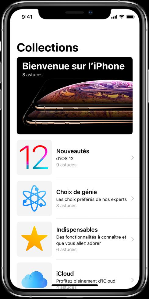 Una pantalla on es mostren col·leccions de l'app Consells amb fletxes cap a la dreta, que indiquen que pots prémer una col·lecció per veure'n els consells.