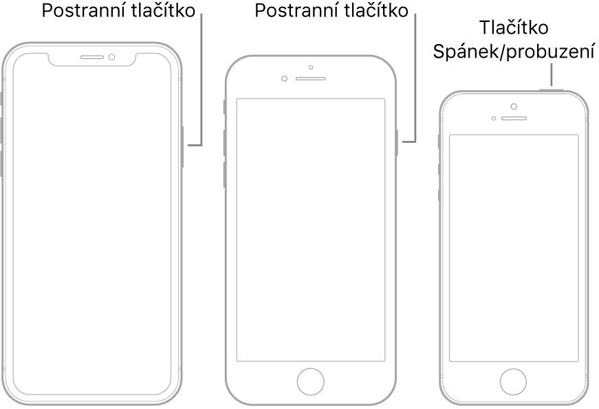 Ilustrace znázorňující umístění postranního tlačítka atlačítka Spánek/probuzení na iPhonu.