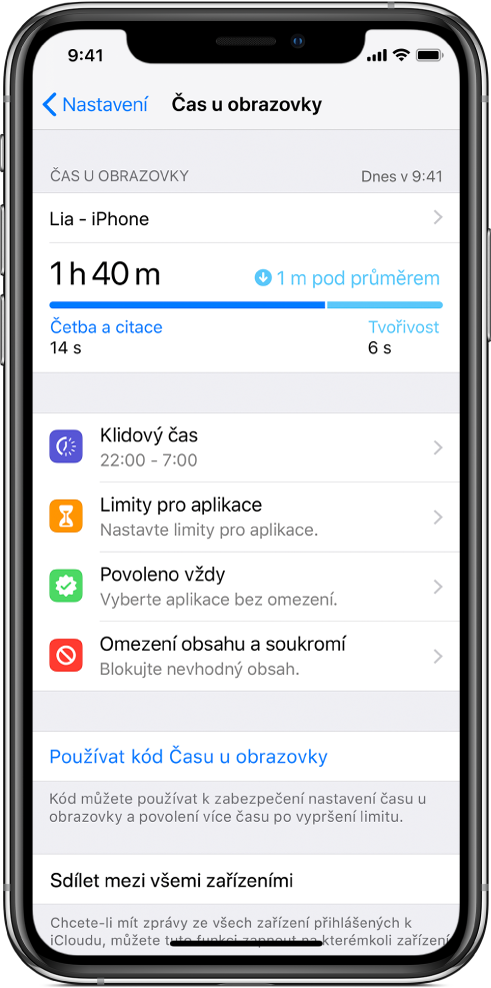 Volby funkce Čas uobrazovky, které můžete zapnout – Klidový čas, Limity pro aplikace, Povoleno vždy aOmezení obsahu asoukromí