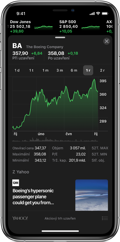 Obrazovka akcií srolujícím symbolem aktuálních cen akcií uhorního okraje obrazovky. Pod ním jsou uvedené podrobné údaje okonkrétním akciovém titulu. Shora dolů je to symbol anázev akciového titulu, zahajovací azávěrečná cena, interaktivní graf sporovnáním změn ceny za různá časová období, další podrobnosti asouvisející zpravodajské články.