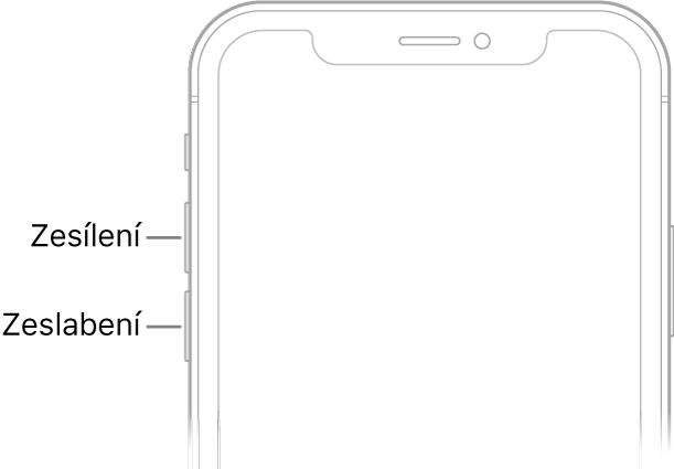 Horní část přední strany iPhonu stlačítky zvýšení asnížení hlasitosti vlevo nahoře
