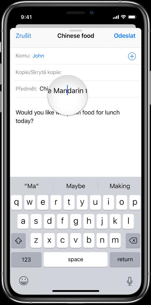 Zobrazení zvětšeného textu akurzoru dotykem prstu na obrazovce