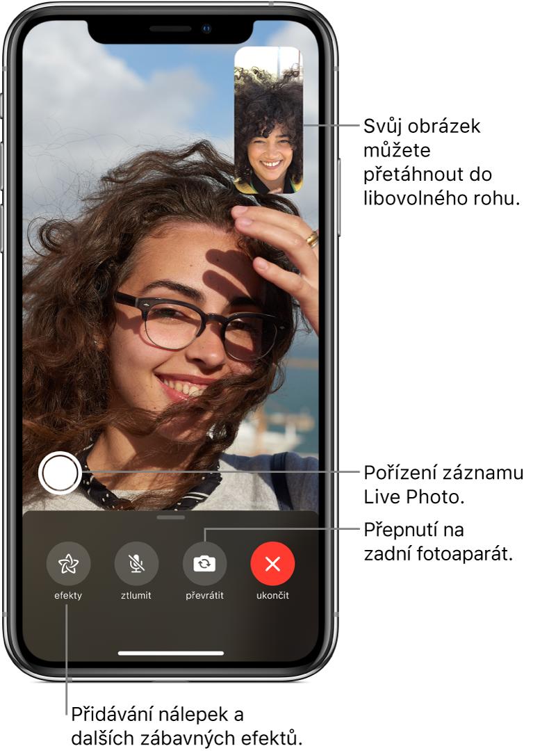 Obrazovka aplikace FaceTime sprobíhajícím hovorem. Vobdélníčku vpravo nahoře je vidět obraz zvaší kamery azbytek obrazovky vyplňuje obraz osoby, skterou mluvíte. Podél dolního okraje obrazovky jsou rozmístěná tlačítka Efekty, Ztlumit, Převrátit aUkončit. Nad nimi se nachází tlačítko pro pořízení záznamu LivePhoto.