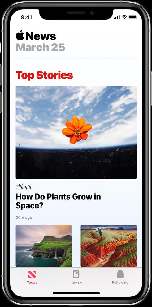 Obrazovka Today se skupinou Top Stories. Nahoře je vidět velký obrázek, pod ním název periodika aještě níž titulek článku. Vdolní části obrazovky se nacházejí dva další obrázky zčlánku. Podél dolního okraje obrazovky jsou rozmístěné panely Today, News+ aFollowing.