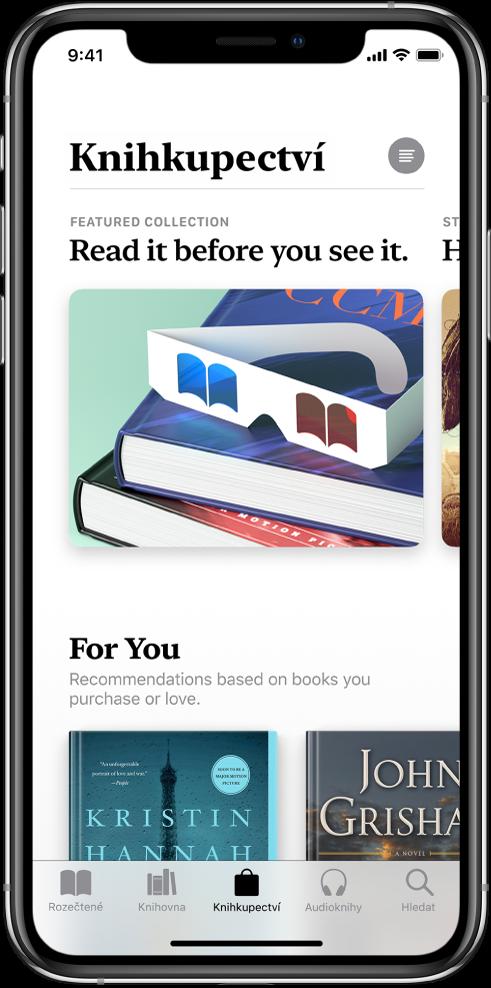 Obrazovka Knihkupectví vaplikaci Knihy. Udolního okraje obrazovky jsou zleva doprava karty Rozečtené, Knihovna, Knihkupectví, Audioknihy aHledat. Knihkupectví je vybrané. Naobrazovce jsou dále vidět knihy akategorie knih, které můžete procházet avyužít knákupu.