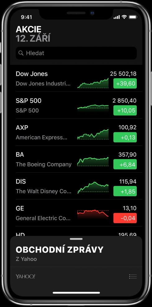 Seznam sledovaných akcií srůznými akciovými tituly. Pro každou položku vseznamu se zobrazuje zleva doprava symbol anázev akciového titulu, graf výkonnosti, cena azměna ceny. Vhorní části obrazovky nad seznamem sledovaných akcií se nachází vyhledávací pole. Pod seznamem je vidět sekce obchodního zpravodajství; přejetím přes sekci směrem nahoru zobrazíte články.