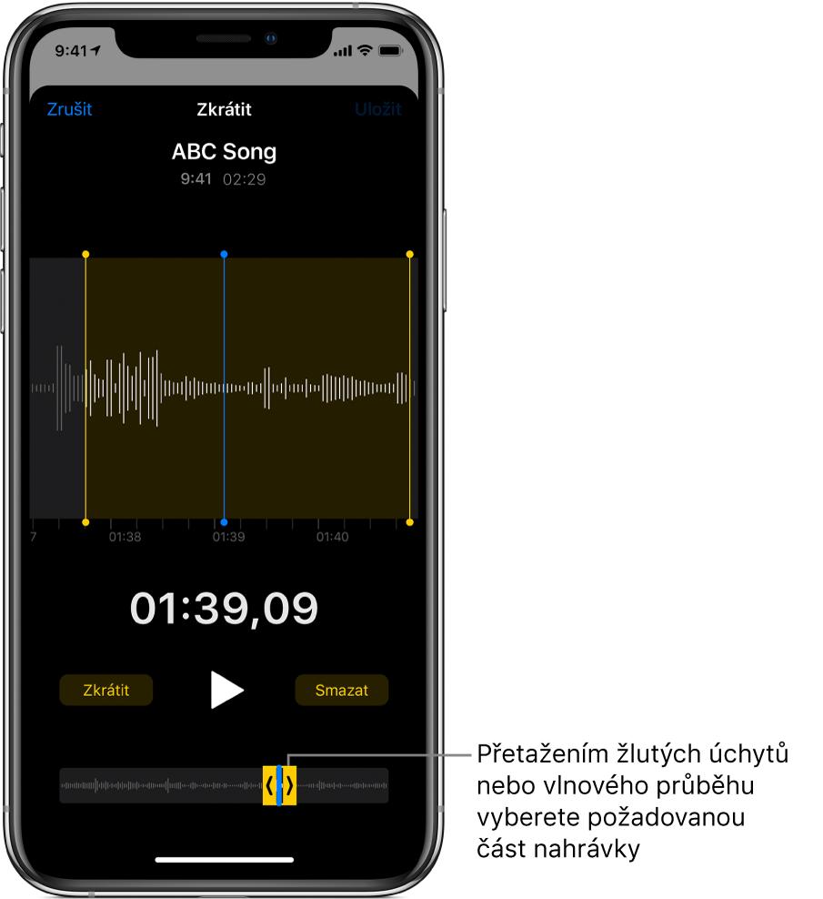 Vystřižení části nahrávky pomocí úchytů, které vyznačují úsek vlnového průběhu vdolní části obrazovky. Nad vlnovým průběhem se nachází tlačítko Přehrát aukazatel času záznamu. Úchyty vybraného úseku jsou umístěné pod tlačítkem Přehrát.
