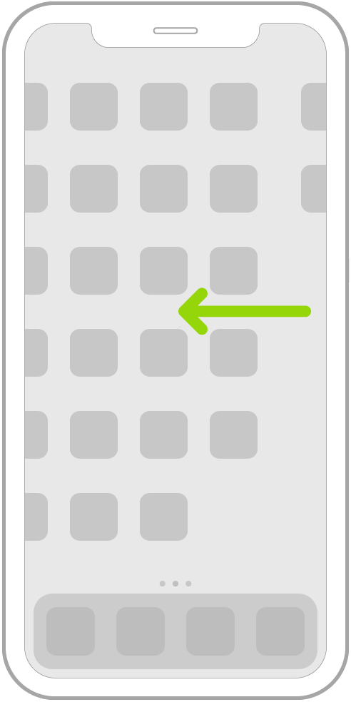 Ilustrace znázorňující listování aplikacemi na dalších stránkách plochy pomocí gesta přejetí