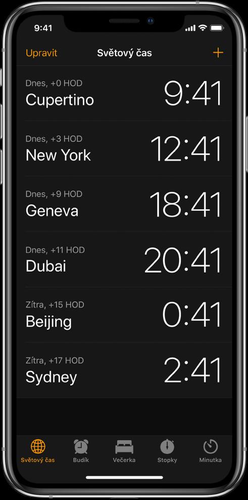 Na panelu Světový čas je uveden čas vrůzných městech. Chcete‑li hodiny uspořádat, klepněte na Upravit. Klepnutím na tlačítko Přidat vpravém horním rohu můžete přidat další hodiny. Udolního okraje najdete tlačítka Budík, Večerka, Stopky aMinutka.