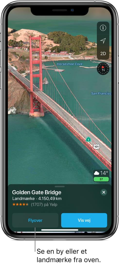 Et billede af en del af Golden Gate Bridge. Nederst på skærmen viser et banner knappen Flyover til venstre for knappen Vis vej.