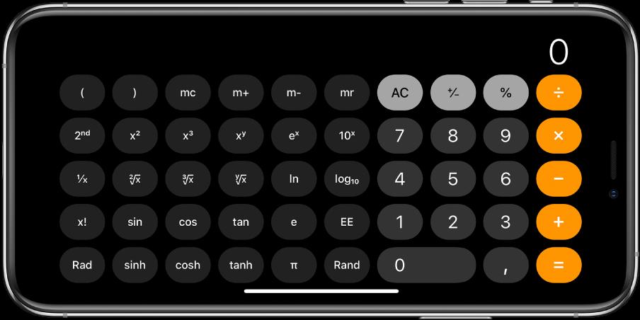 iPhone i liggende retning viser den videnskabelige lommeregner med eksponentielle, logaritmiske og trigonometriske funktioner.