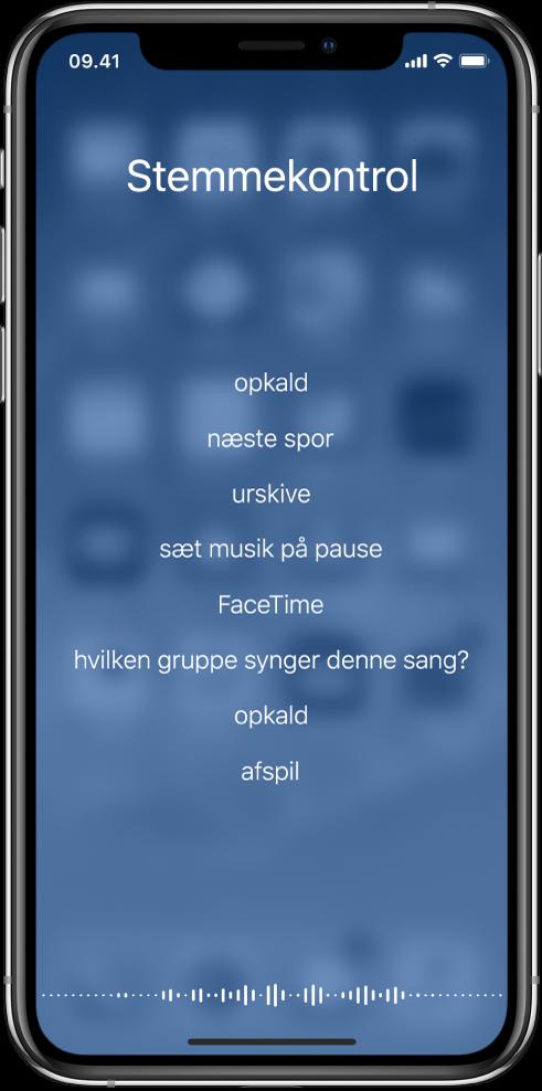 Skærmen Stemmekontrol med eksempler på kommandoer, du kan bruge. En bølgeform vises langs bunden af skærmen.