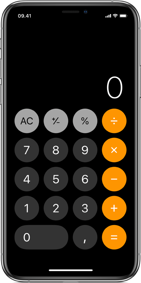 Standardlommeregneren med grundlæggende aritmetiske funktioner.