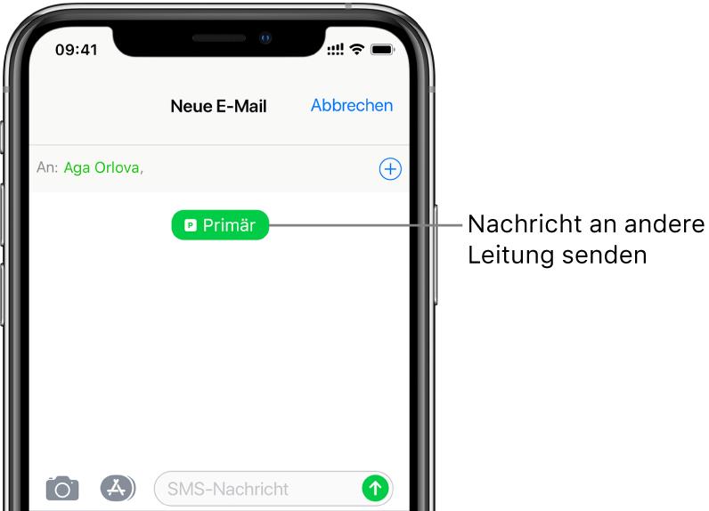 """Der Bildschirm """"Nachrichten"""" für eine neue SMS/MMS-Konversation. Tippe auf die Leitungstaste unter dem Namen des Empfängers, um die Nachricht über die jeweils andere Leitung zu senden."""