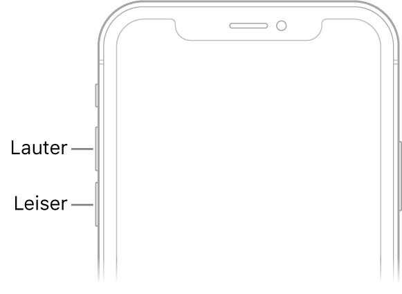 """Oberer Teil der iPhone-Vorderseite mit den Lautstärketasten """"Lauter"""" und """"Leiser"""" oben links."""