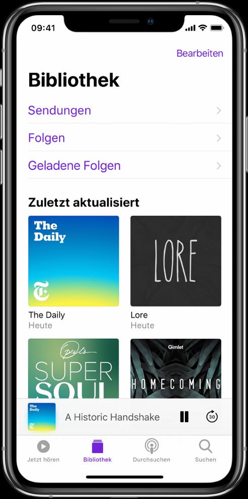 """Der Tab """"Mediathek"""" mit kürzlich aktualisierten Podcasts."""