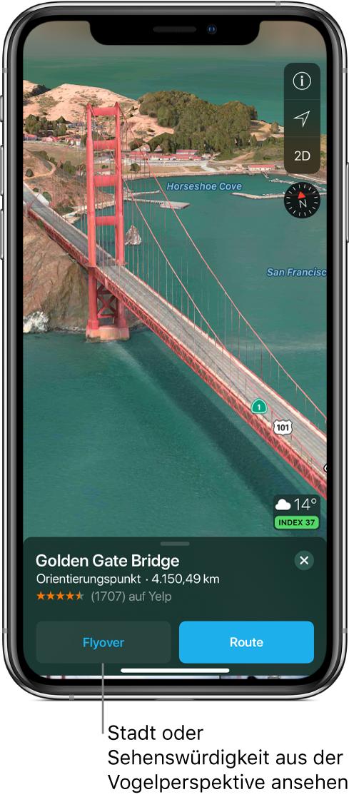 """Ein Bild eines Teils der Golden Gate Bridge. Unten auf dem Bildschirm ist links von der Taste """"Route"""" ein Banner mit der Taste """"Flyover"""" zu sehen."""