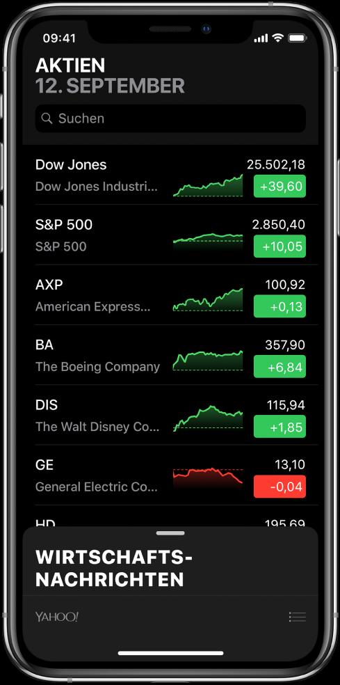 Eine Aktienliste mit verschiedenen Aktien. Für jede Aktie in der Liste werden von links nach rechts das Symbol und der Name der Aktie, das Aktienchart, der Aktienkurs und die Kursentwicklung angezeigt. Über der Aktienliste befindet sich am oberen Bildschirmrand das Suchfeld. Unter der Aktienliste werden News aus der Finanz- und Geschäftswelt angezeigt. Streiche über die News nach oben, um die zugehörigen Storys anzuzeigen.