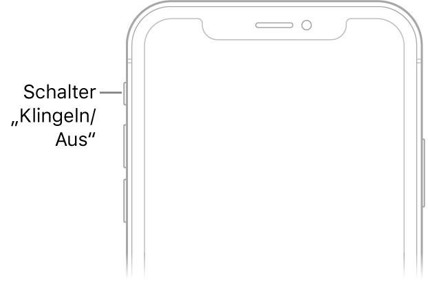 """Die obere Hälfte der iPhone-Vorderseite mit einem Hinweis zum Schalter """"Klingeln/Aus""""."""