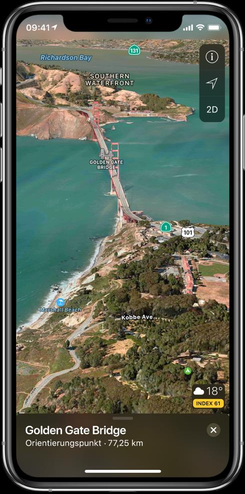 """Eine 3D-Satellitenansicht der Gegend um die Golden-Gate-Brücke. Oben rechts sind die Tasten """"Ortung aus"""", """"Einstellungen"""" und """"2D"""", unten rechts das Symbol """"Wetter"""" mit der Temperaturanzeige und ein Index für die Luftqualität zu sehen."""