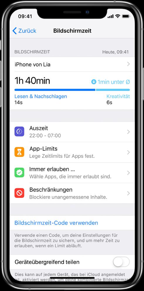 """Die von dir aktivierbaren Einstellungen für die Optionen """"Bildschirmzeit"""": """"Auszeit"""", """"App-Limits"""", """"Immer erlauben"""" und """"Beschränkungen""""."""