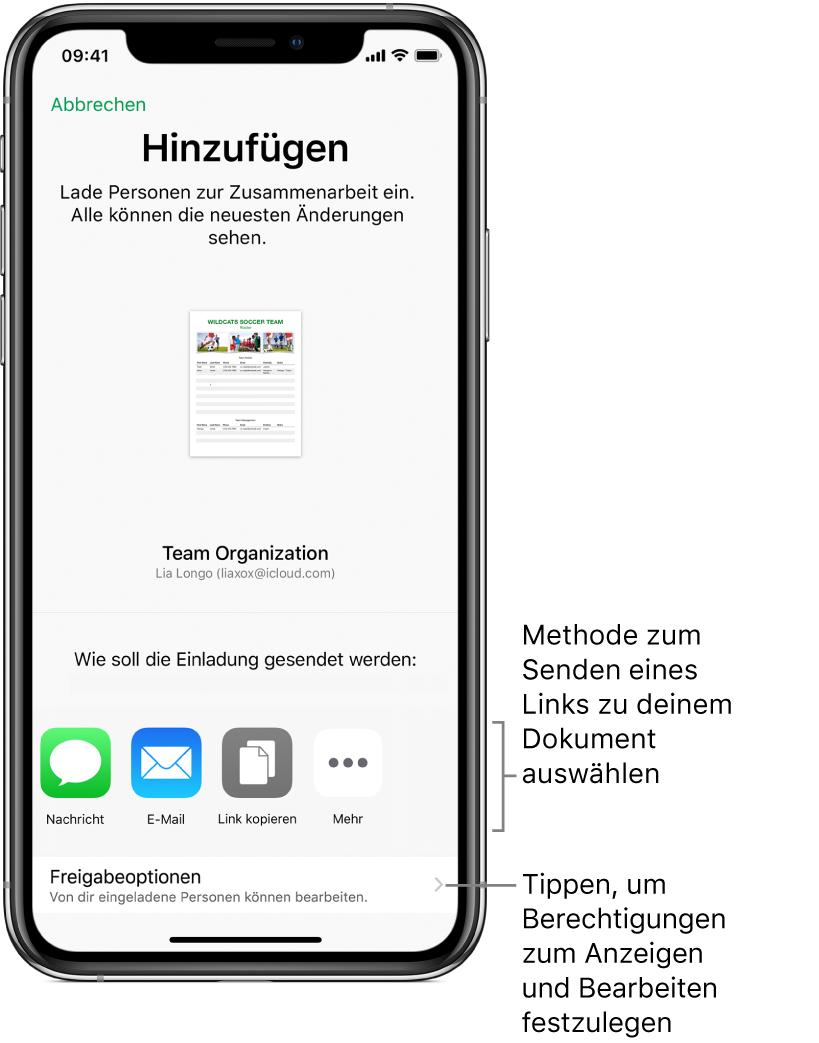 """Ein Bildschirm zum Einladen der Personen, die deine Datei ansehen und bearbeiten dürfen. Zu den Methoden zum Senden der Einladung gehören die Apps """"Nachrichten"""" und """"Mail"""". Darunter werden die Freigabeoptionen angezeigt."""