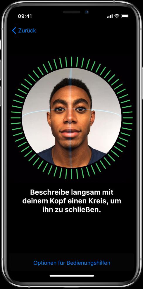 Der Bildschirm zum Einrichten der FaceID-Erkennung. Auf dem Bildschirm ist ein Gesicht in einem Kreis zu sehen. Der Text darunter fordert dich auf, den Kopf langsam zu bewegen, um den Kreis zu schließen.