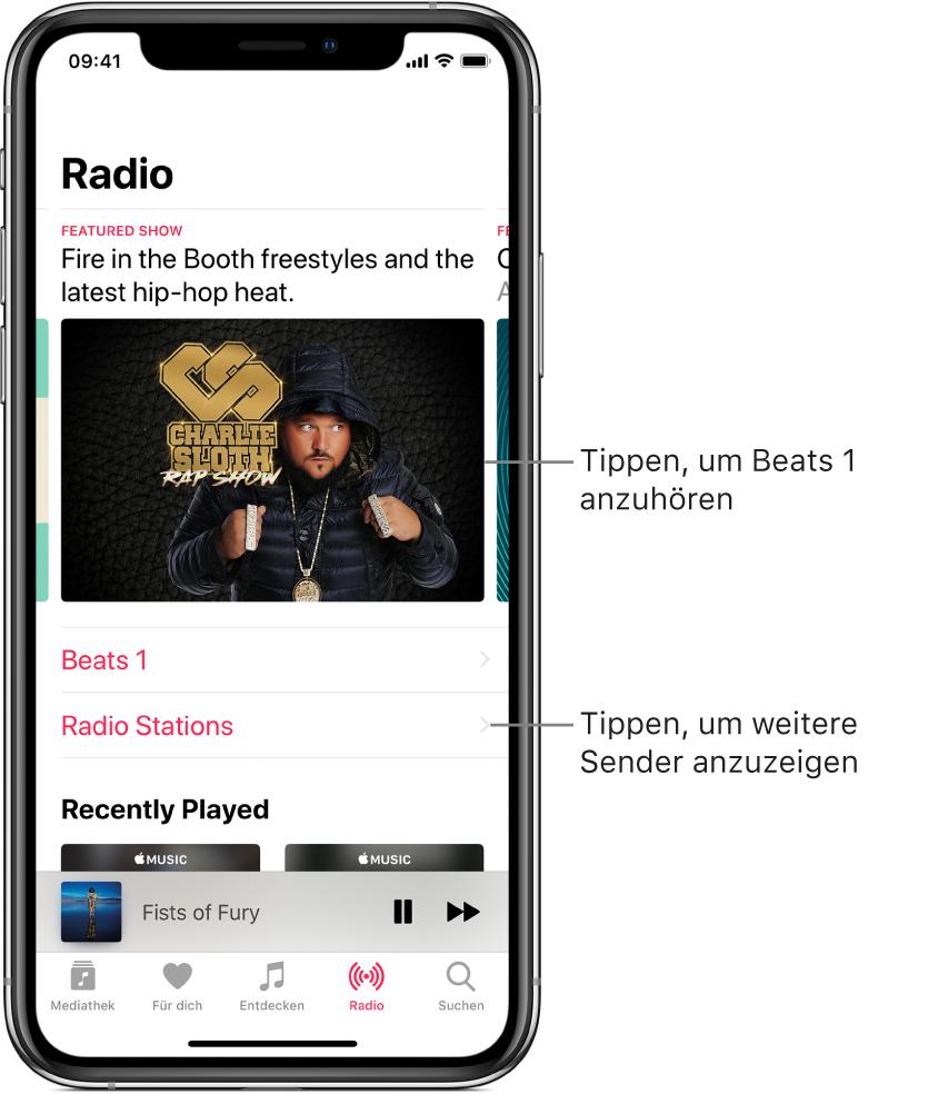 """Der Bildschirm """"Radio"""" mit dem Sender Beats1 oben. Darunter sind die Einträge """"Beats1"""" und """"Radiosender"""" zu sehen."""