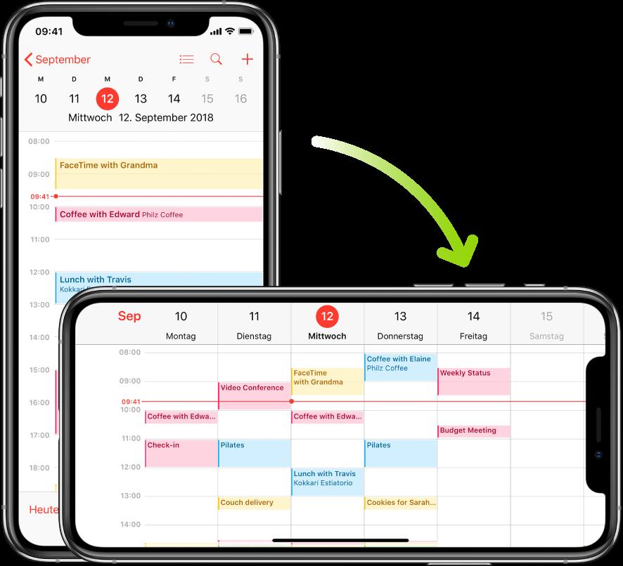 """Im Hintergrund ist das iPhone im Hochformat ausgerichtet, und auf dem Bildschirm der App """"Kalender"""" sind die Termine eines Tages zu sehen. Im Vordergrund wurde das iPhone ins Querformat gedreht, und auf dem Bildschirm der App """"Kalender"""" sind nun die Termine der ganzen Woche zu sehen."""