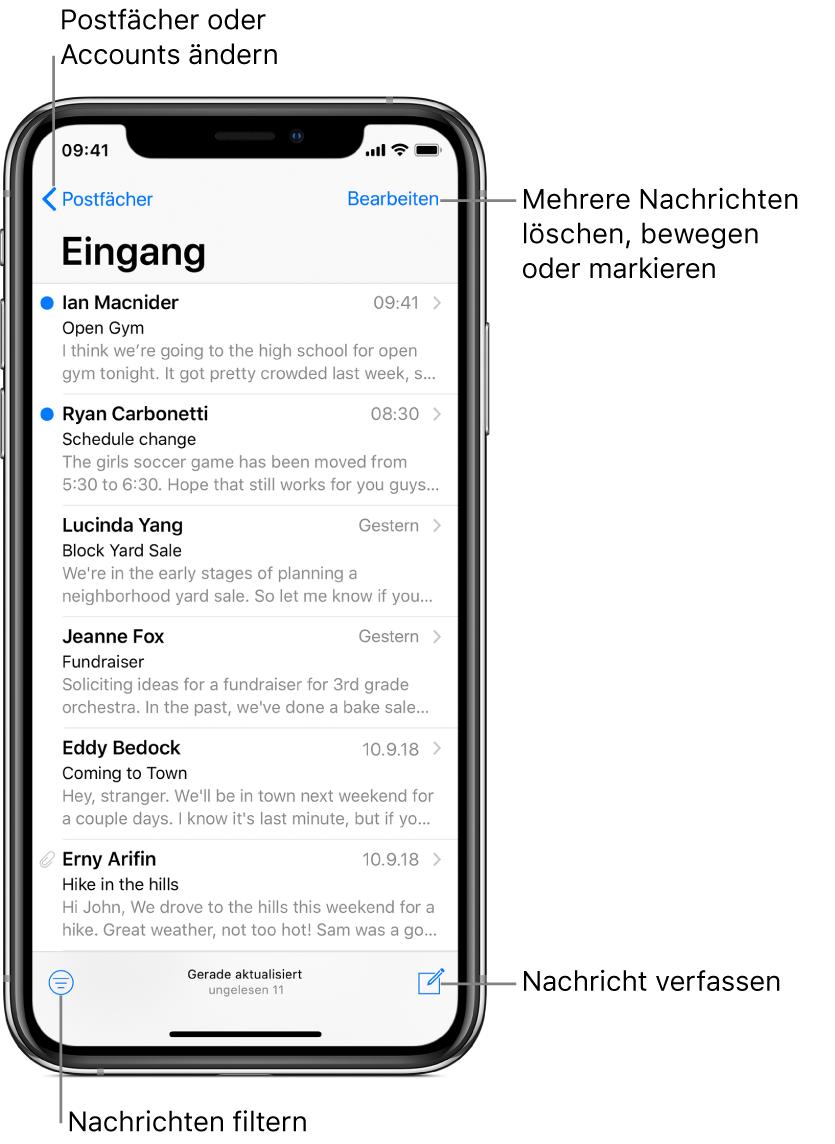 """Der Posteingang mit einer Liste von E-Mail-Nachrichten. In der Ecke oben links befindet sich die Taste """"Postfächer"""" für den Wechsel zu einem anderen Postfach. In der Ecke oben rechts befindet sich die Taste """"Bearbeiten"""" zum Löschen, Bewegen und Markieren von E-Mails. In der Ecke unten links befindet sich die Taste zum Filtern der E-Mails, sodass nur bestimmte E-Mails angezeigt werden. In der Ecke unten rechts befindet sich die Taste zum Erstellen einer neuen E-Mail."""