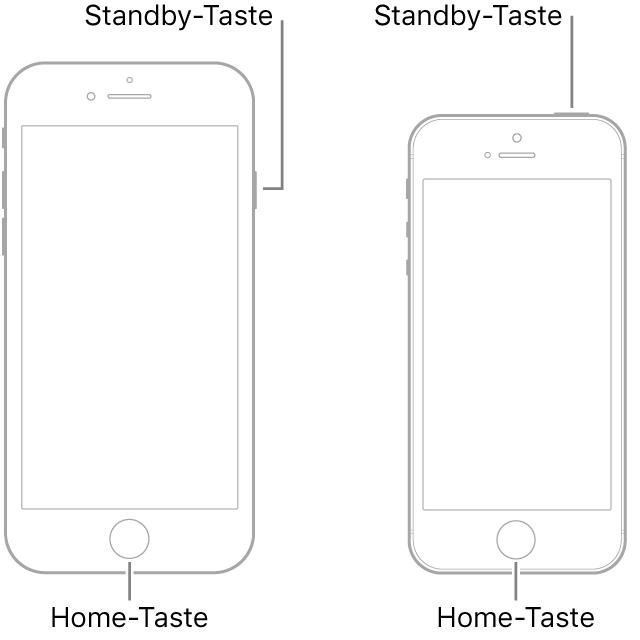 Darstellungen zweier iPhone-Modelle jeweils mit dem Display nach oben. Beide Modelle haben im unteren Bereich eine Home-Taste. Das Modell links hat eine Standby-Taste an der rechten Seiten oben. Das Modell rechts hat eine Standby-Taste an der oberen Seite rechts.