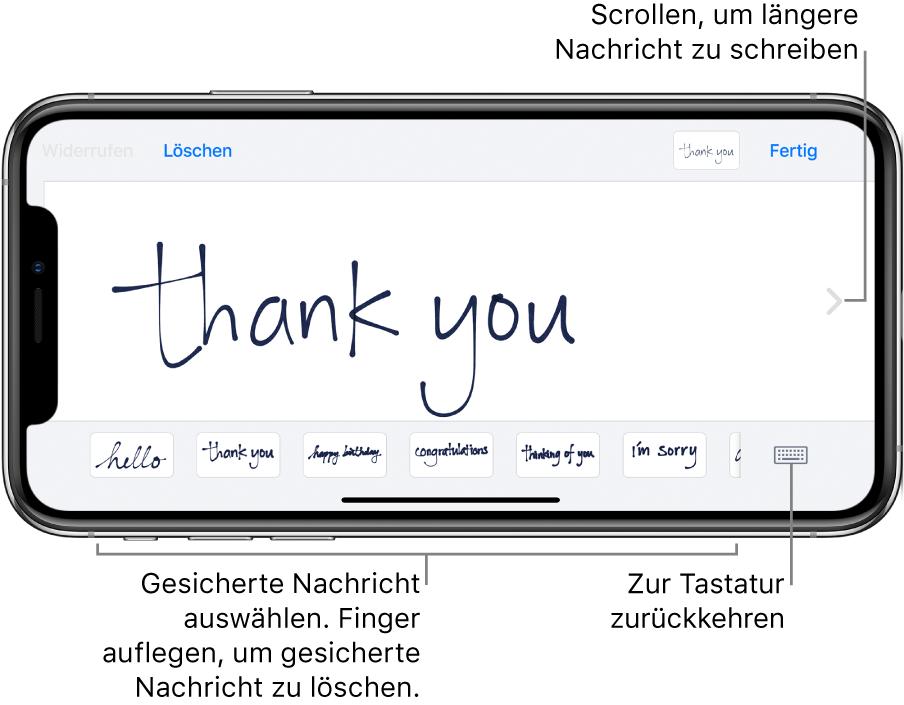 """Der Handschriftbildschirm mit einer handschriftlichen Nachricht. Unten befinden sich von links nach rechts die gesicherten Nachrichten und die Taste """"Tastatur anzeigen""""."""