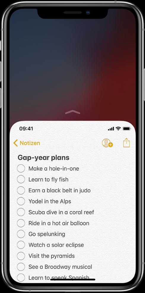 """iPhone-Bildschirm mit aktiviertem Einhandmodus. Der obere Bereich des Bildschirms wurde nach unten verlagert, sodass die Liste der App """"Notizen"""" mit deinem Daumen zu erreichen ist."""
