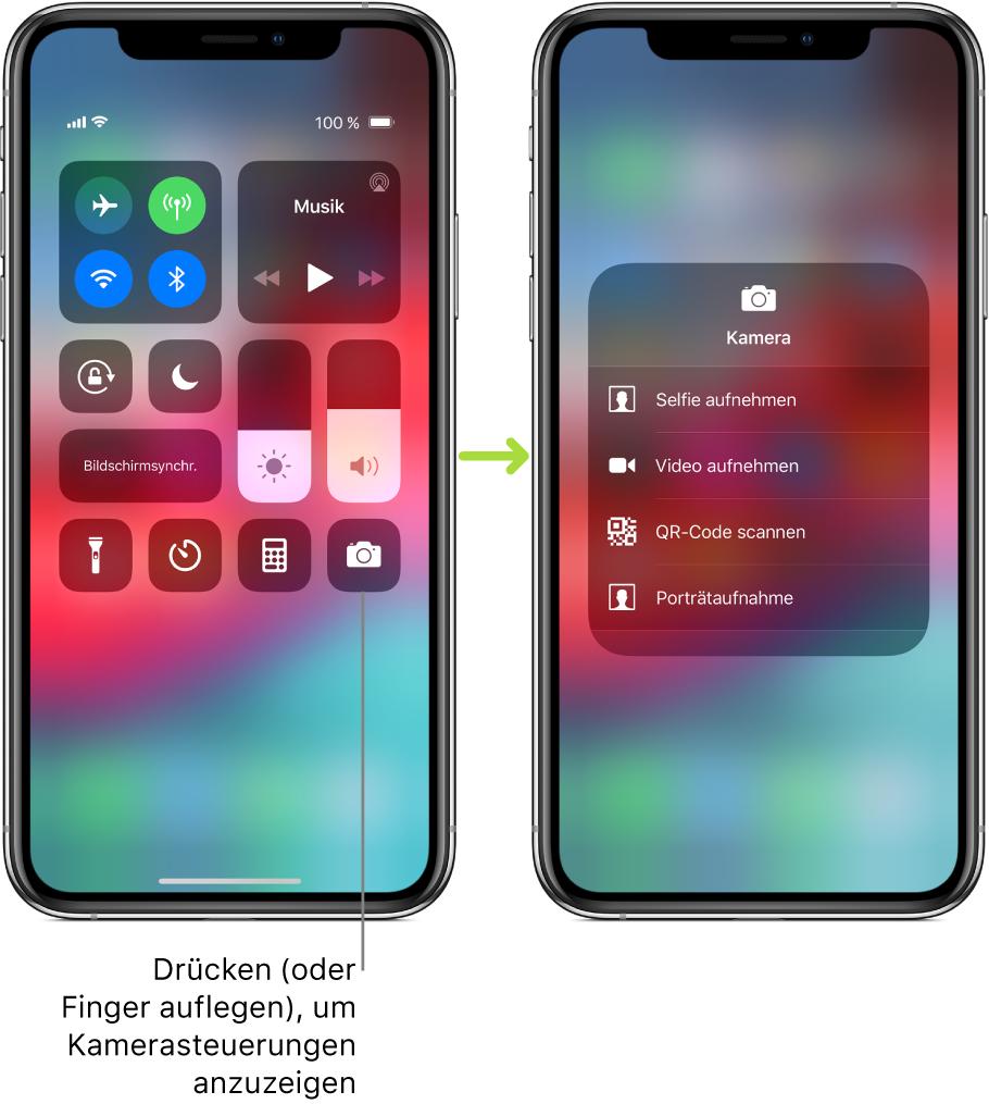 """Zwei Bildschirme mit dem geöffneten Kontrollzentrum nebeneinander: Auf dem Bildschirm links sind in der oberen linken Gruppe die Steuerelemente """"Flugmodus"""", """"Mobile Daten"""", """"WLAN"""" und """"Bluetooth"""" zu sehen. Außerdem ist der Hinweis zu sehen, dass durch Drücken auf das Symbol """"Kamera"""" (oder durch Auflegen des Fingers auf das Symbol) die Steuerelemente für die Kamera eingeblendet werden können. Auf dem Bildschirm rechts sind diese zusätzlichen Optionen für die Kamera zu sehen: """"Selfie aufnehmen"""", """"Video aufnehmen"""", """"QR-Code scannen"""" und """"Porträtaufnahme""""."""